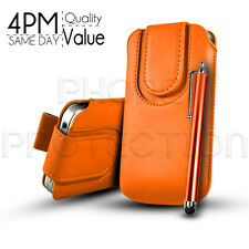 BUTTON LEATHER PULL TAB CASE COVER POUCH AND STYLUS PEN FOR VARIOUS APPLE PHONES