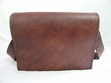 "16x12"" Vintage Brown Leather Messenger Bag Laptop MacBook Satchel Cross Body Bag"