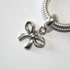 Arco-Cinta-Mariposa Nudo-Europea Charm Cuenta de / Colgante-Sólido Plata Ley 925