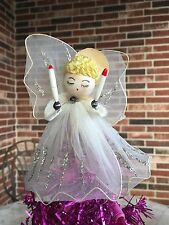 Vintage 1950s Christmas Tree Topper ANGEL Figure Chenille Hair, Candles, 5 1/2""