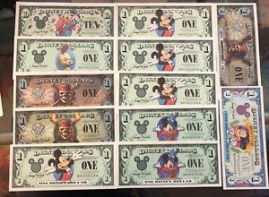 Disney Dollar Collection NM Notes Bills Donald Mickey Chicken Vintage No Reserve