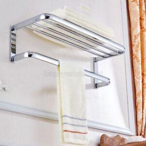 Polished Chrome Square Wall Mounted Towel Rail Holder Storage Rack Shelf Bar