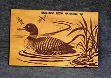 Unique Wood Postcard Duck Greetings From Hayward Wisconsin