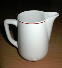 Vintage ACF Italy Espresso Pot Foaming Pitcher White Ceramic Red Trim 14 oz