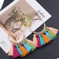 Fashion Women Colorful Bohemian Earrings Long Tassel Fringe Boho Dangle Earrings