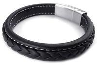 Bijoux de Bracelet tresse en cuir en acier inoxydable pour les hommes - Noi G5N3
