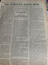 L1-2 Ephemera 1956 Article By Jack Oliphant Theatre Rep The Publicist Hated Beer