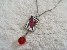 Silvertone Zebra Red Heart Pendant Necklace Valentine (F6)