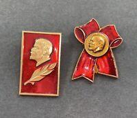 Soviet Russia Red Enamel & Gold Tone Lapel Hat Pin Lenin USSR Set of 2