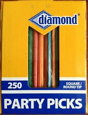 250 DIAMOND Party Picks Wooden square round tip TOOTHPICKS BAR color Colored NEW