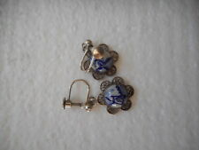 Vintage Dutch DELFT Tile Sterling high quality earrings,screw on