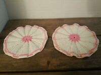 Vintage Hand Crocheted Hot Pads Pot Holders Trivets Pink & White Flower Set of 2