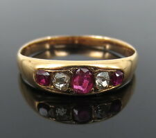Antique 0.30ct Old Mine Cut Diamond & 0.45ct Ruby 14K Yellow Gold Ring