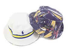 Polo Ralph Lauren Reversible Safari Bucket Hat Cap White, Blue, Yellow, Navy
