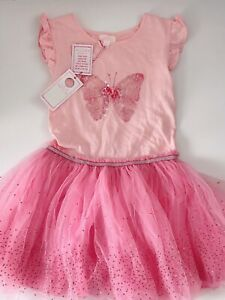 NEW Girl Kids Pumpkin Patch Butterfly Pink Tutu Princess Fairy Dress 8 Years