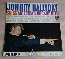 LABEL BLEU ORIGINAL VINYL 33T LP JOHNNY HALLYDAY SINGS AMERICA'S ROCKIN'HITS