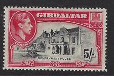 GIBRALTAR : 1938   5/- black and carmine perf 14  SG 129 mint