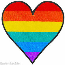 Love Heart Rainbow Gay Lesbian Colorful LGBT Hippie Boho Iron-On Patches #R015