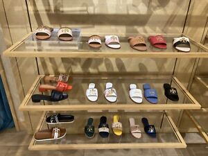 Tory Burch Everly Slide Sandals Black or Camel/Pink or Navy/Ivory Leather NWT