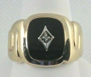 ESTATE 10k Yellow Gold Ring w/ Diamond & Black Tourmaline Men Size 10.5