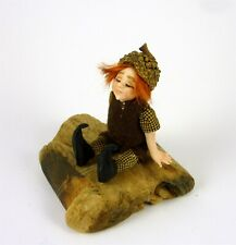 Dollhouse Miniature Artisan Forest Elf on Wood