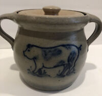 Rowe Pottery Salt Glazed Stoneware Pig Design Bean Pot W/ Lid & Handle Damage
