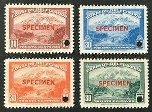 "ECUADOR Sc#407-407a.b.c. 1942-47 Mount Chimboraza 'SPECIMEN"" Mint NH OG VF O-108"