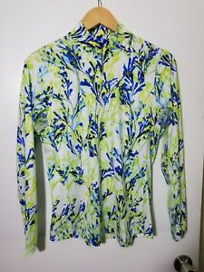 1 NWT EP NEW YORK WOMEN'S LS POLO, SIZE: MEDIUM, COLOR: WHITE/GREEN/BLUE (J123)