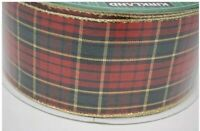 "Red Green Tartan Plaid Christmas Ribbon Wire Edge Metallic 2.5"" wide x 5 yards"