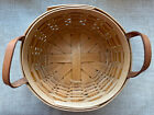 Royce Craft Round Basket With Leather Handles - Signed - 1993
