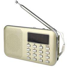 Pocket Digital FM/AM Radio MP3 Player Multimedia Speaker+Flashlight Golden USB