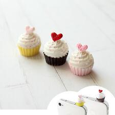 2pc Cute Heart Cupcake Anti Dust Plug Cover Stopper Mobile Accessory Yello+Brown