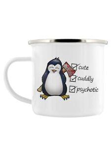 Psycho Penguin Enamel Mug for Tea or Coffee Cute, Cuddly