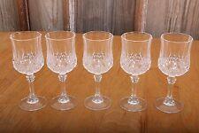 Set of 5 Vintage Crystal Glass Footed Drinking Glasses Stemware