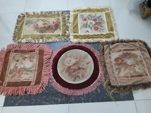 Antique 19th century Aubusson French hand woven 5pcs Cushion