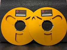 """A Pair Metal 10.5"""" 1/4""""reel to reel take up empty Red For Studer Revox Tascom"""