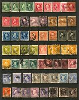 #333-#534 1908-1920 1c-$1 Asst Washington-Franklin Various Perf, Watermarks Used