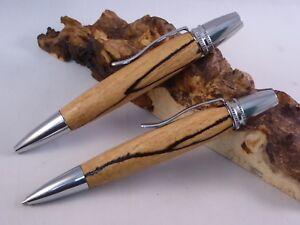 Set Schreibgerät-Kugelschreiber und Bleistift Buche gestockt handgedrechselt