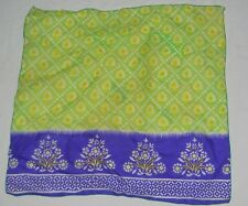 Vintage 60s Square Scarf Lime Green Purple Grape Flowers Hippie Floral 21.5 Poly