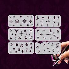 Airbrush Schablonen Xmas Set W+2 Nailart 6 Stk. Winter Weihnachten Schnee Sterne