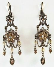 £35 Baroque Gothic Gold Brown Flower Drop Earrings Swarovski Elements Crystal