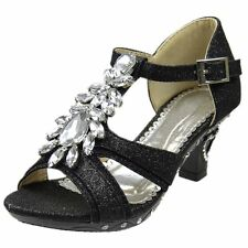 Girls T-Strap Glitter High Heel Dress Sandals w/ Rhinestones Jewel Accent Black