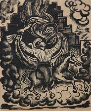LEOPOLDO MENDEZ-Mexican Modernist-Original LIM.ED. Linocut-Mexican Folklore