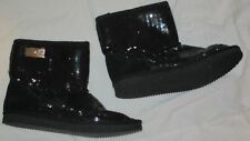 LIU-JO Sequin Boots Ladies Size 39 Bought In Italy Black Suede Accent Flat Ankle