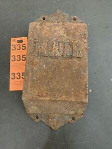 Vintage Heavy Metal Door Mount Mail Slot Mailbox Drop For Restoration