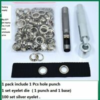 100 Silver Steel Eyelet Washer With Hole Punch & 1 Eyelet Punch Tool Grommet