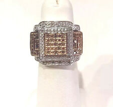 NEW! 1/2 Ct Champagne Diamond Ring, 2 Guards, Platinum, SS .925 Size 6