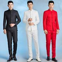 Men Suit Mandarin Grandad Collar Chinese Asian Dinner Jacket Pants Zhongshan Set