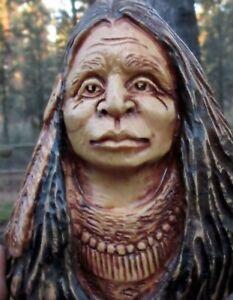 Wood Spirit Carving Western Art Old West Sculpture Native American Indian Head