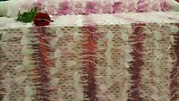 Pink Lace 3d Feathers On Mesh Sequin Fabric By The Yard Gown Dress Prom Fashion